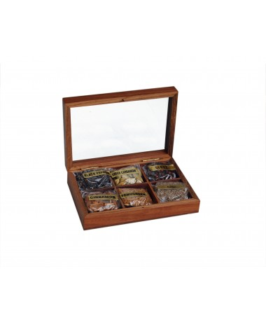 Wooden Box (Whole Spice Tray 6 in 1)