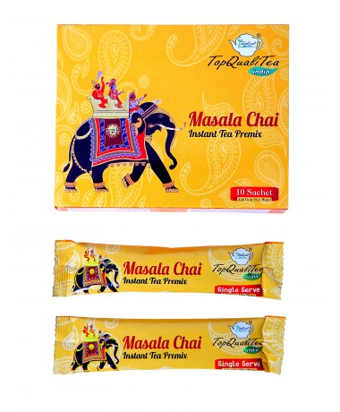 Masala Chai Instant Tea Premix (10 Single Serve Sachets) 15gm Each
